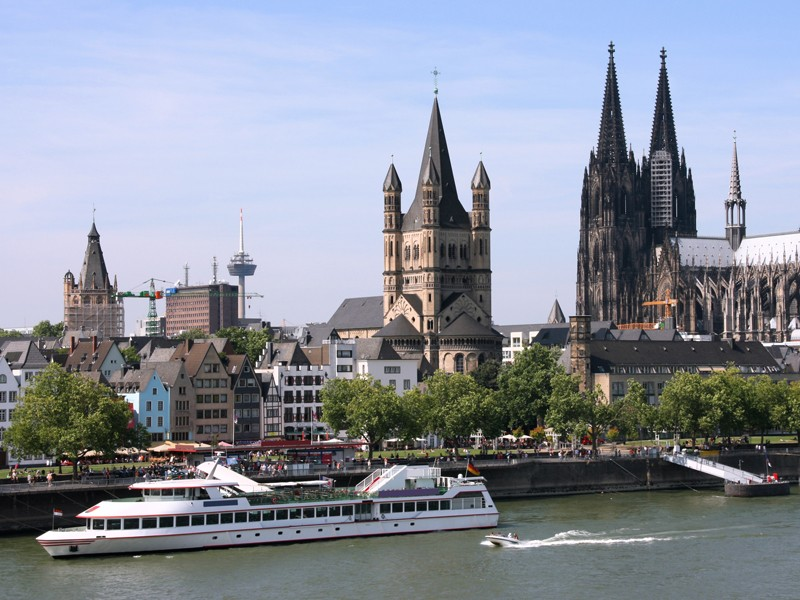 Cologne, Germany - cityscape with Rhine river and famous cathedral. Photo may seem tilted to the left - optical illusion.; Shutterstock ID 128796805; Departmental Cost Code: redownload; Project Code: redownload; PO Number: redownload; Other: redownload
