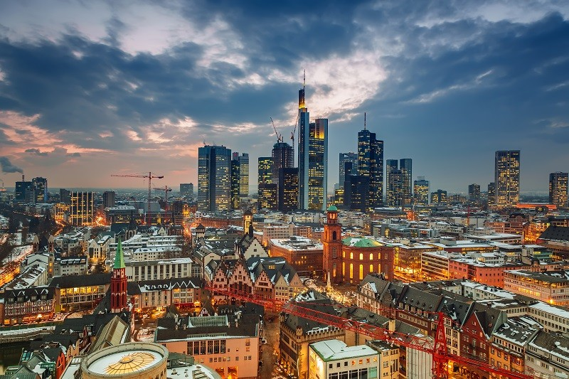 Frankfurt am Main at dusk, Germany; Shutterstock ID 229279951; Departmental Cost Code: 164400