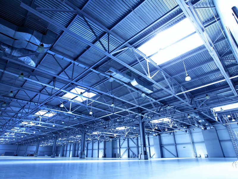 4702435 - empty warehouse toned in the blue color